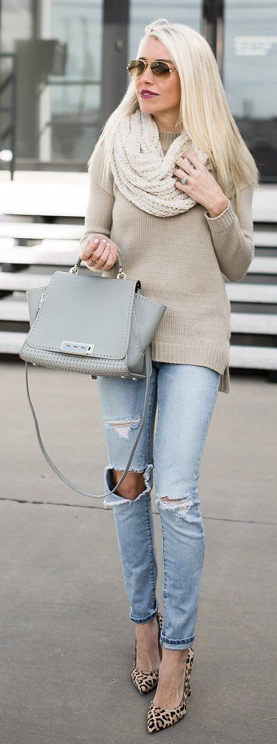 #winter #fashion /  White Wool Scarf / Grey Leather Tote Bag / Bleached Destroyed Denim / Leopard Pumps