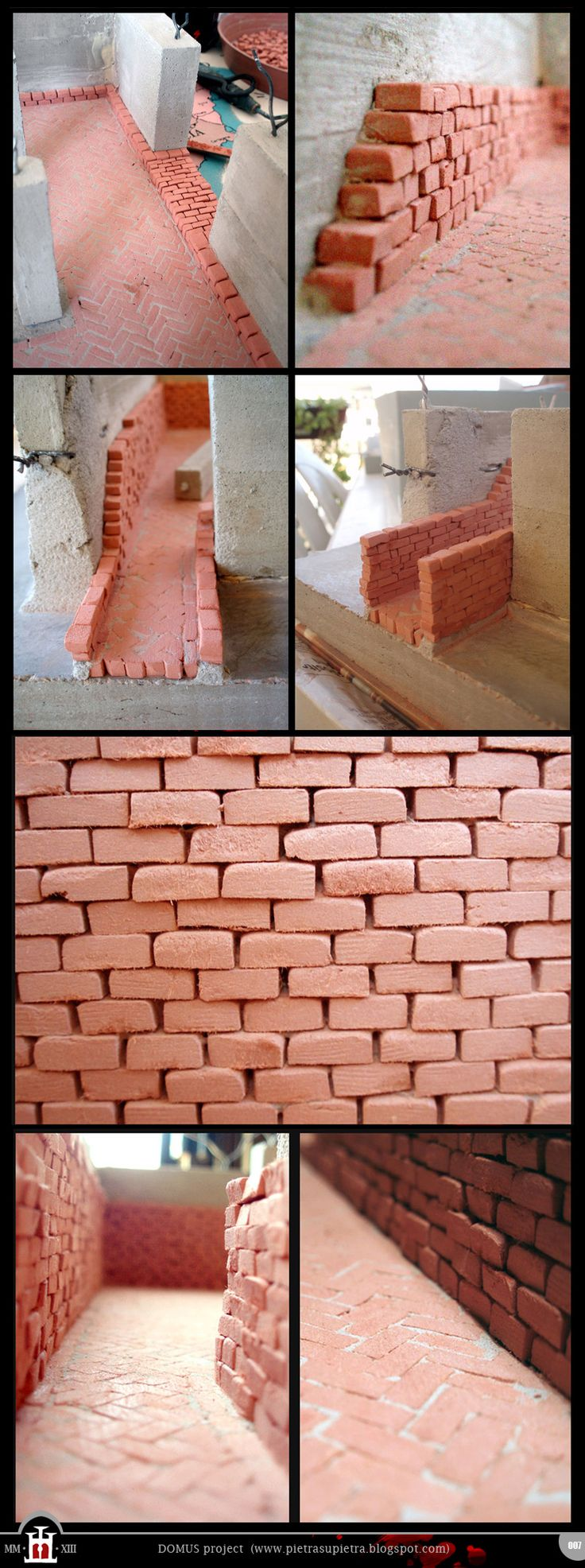 Domus project 7: Brick walls (part I) http://pietrasupietra.blogspot.com/2011/12/construction-07-brick-walls-1.html The Domus project is the construction in scale 1:50 of an imaginary medieval palace. It's made of clay, stones, slate, wood and other construction materials in the style of rich genoese buildings from the middle of XIV century.