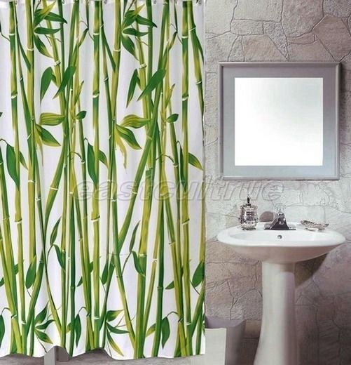 Green Chinese Bamboo Tree Pattern Design Bathroom Fabric Shower Curtain Es138