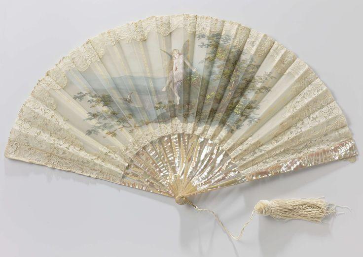 Vouwwaaier met dubbel blad van zijden organza waarop in tempera een blonde…