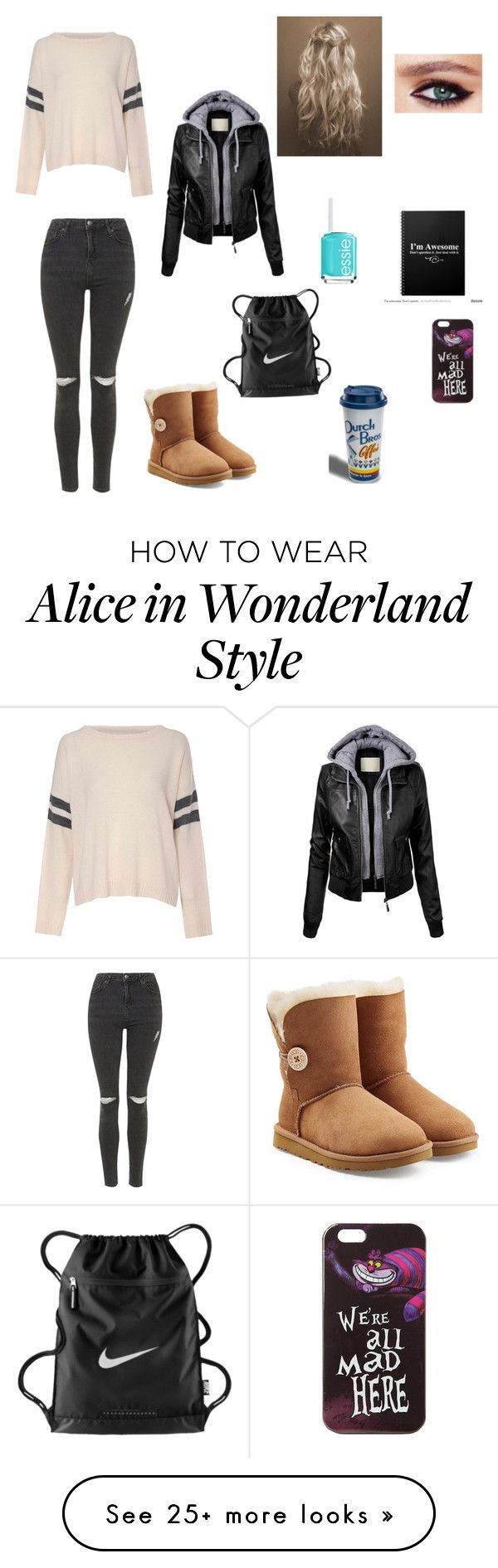 """Going to a debate with my friends"" by lizzie208 on Polyvore featuring Topshop, Glamorous, UGG Australia, NIKE, Disney, Charlotte Tilbury and Essie"