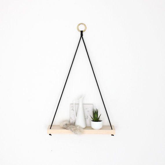 Small Modern Wall Shelf Narrow Wood Display Shelf A by HRUSKAA