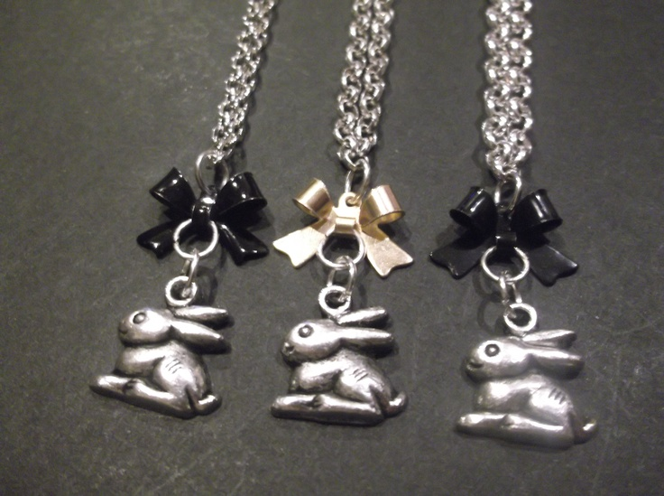 Metal silver Bunny Necklace with black or gold bows  please state what colour bow you would like.  Length-49cm  Price- $15  Contact- kendal.halloran@gmail.com