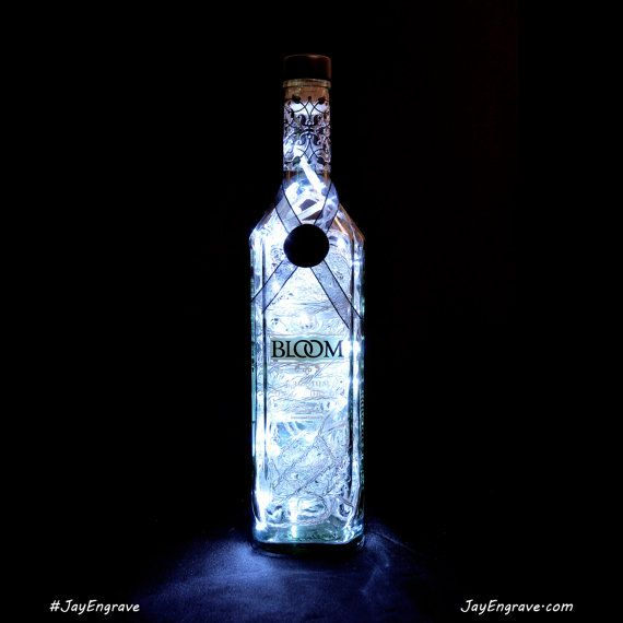 Bloom Premium London Gin Upcycled Bottle LED Lamp by JayEngrave