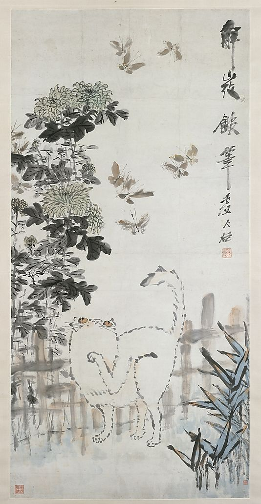 Xu Gu (Chinese, 1823–1896). Cat and Butterfly, 19th century. China. The Metropolitan Museum of Art, New York. Gift of Robert Hatfield Ellsworth, in memory of La Ferne Hatfield Ellsworth, 1986 (1986.267.52) #cats