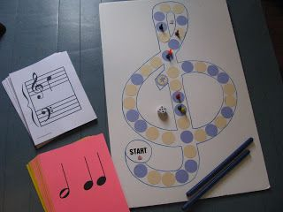 DIY board game that drills students in identifying notes on the staff and makes them clap out rhythms