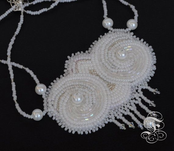 Bead Embroidery Necklace White Owls Eyes by Fantasmat on Etsy
