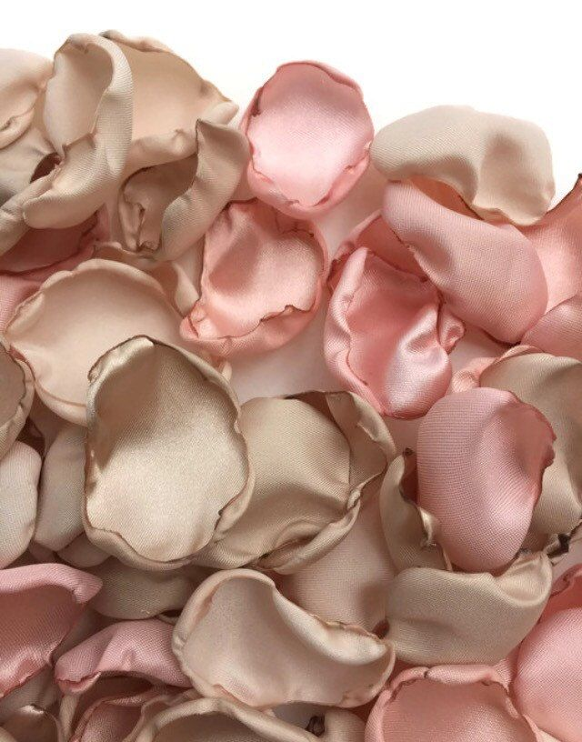 Blush pink, cream and champagne flower petals, pink cream tan rose petals, blush nude khaki table decor, flower girl petals, wedding