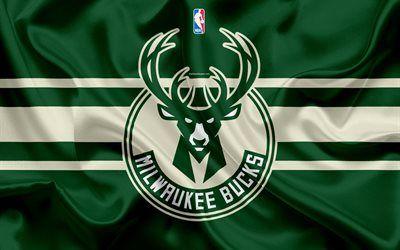 Descargar fondos de pantalla Bucks de Milwaukee, club de baloncesto, la NBA, emblema, logotipo, estados UNIDOS, la Asociación Nacional de Baloncesto, bandera de seda, de baloncesto, de Milwaukee, Wisconsin, EEUU de baloncesto de la liga, División Central libre. Imágenes fondos de descarga gratuita