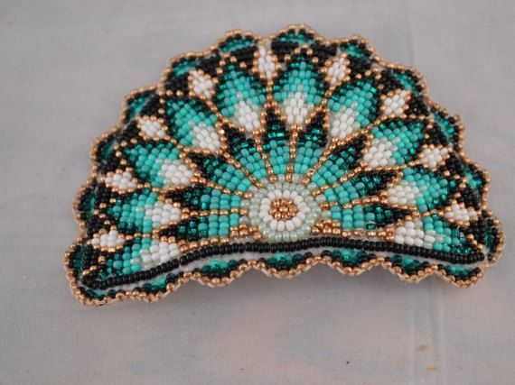 Native American Beadwork Hair Barrette Signed By by Roseshowers