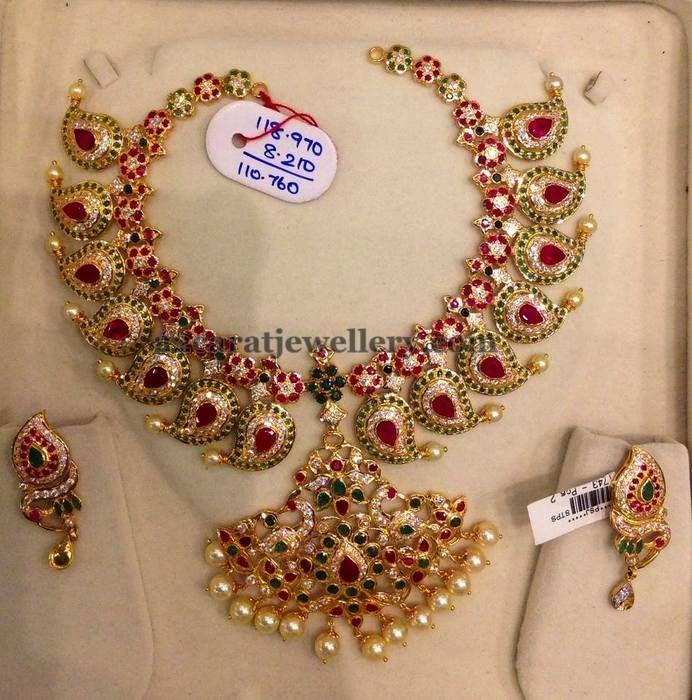 Floral Mango Set 118gms | Jewellery Designs