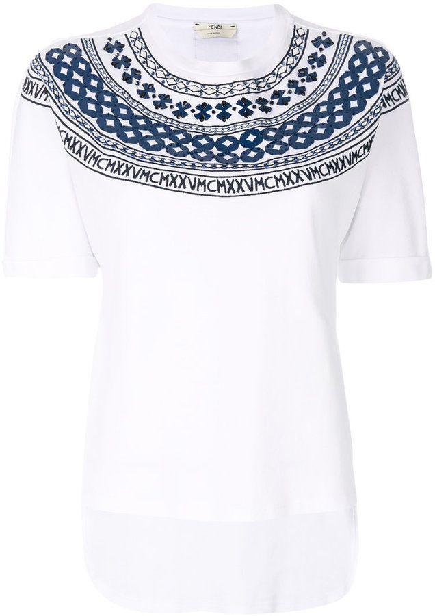 Cute women s  fashion shirt. Love the details   colors of this! Fendi  Mini-Maxi T-shirt 075391d09ab