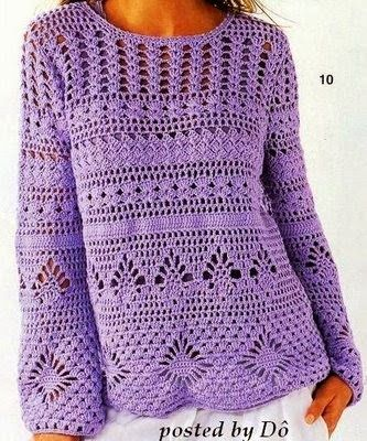 Blusa de croche para o outono roxa  Gosto de mix de pontos.           Abraços a todas as amigas e bons croches.