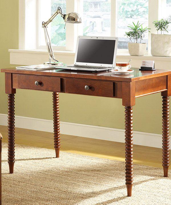 HomeBelle Mahogany Two Drawer Desk