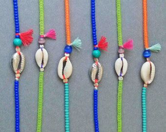 Cowrie Shell bracelet - Turquoise and orange - Turquoise tassel - Natural cowrie…