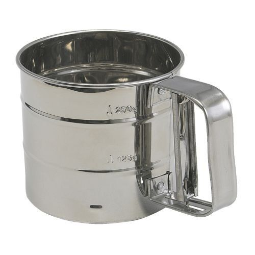 Flour Sifter Stainless Steel Diameter 10.5 cm Height 9.5 cm H2H http://www.amazon.co.uk/dp/B00701Y4SQ/ref=cm_sw_r_pi_dp_U8Gnwb11WM6K5