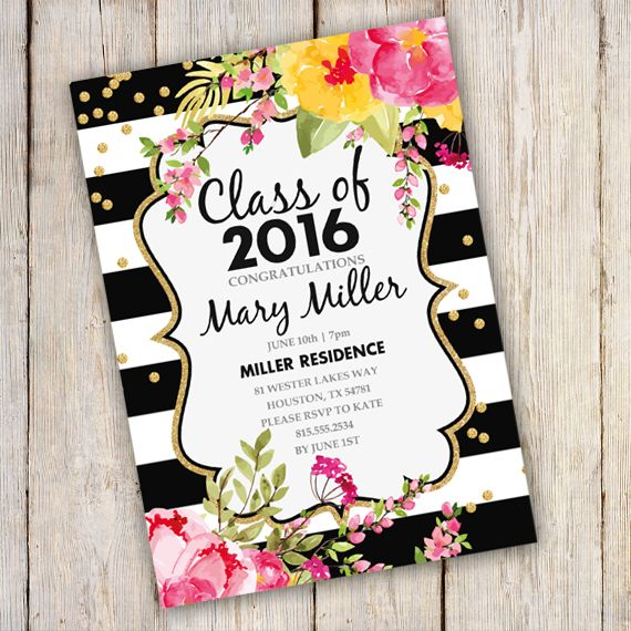 printable graduation invitation black and gold template