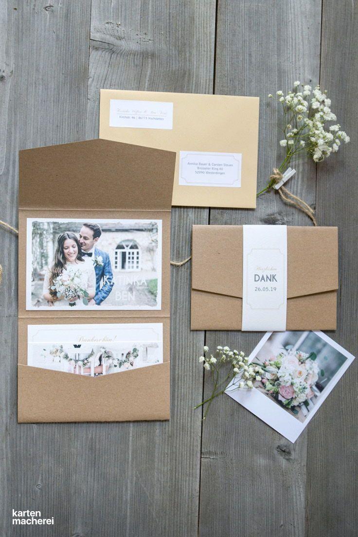 """Dankeskarte Hochzeit """"Vintage Photo"""""""