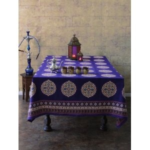 This Will Grace My Kitchen Table Sultans Palace ~ Purple Blue Moroccan  Vintage Print Tablecloth