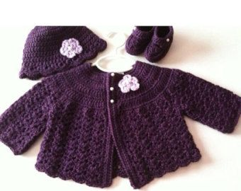 Crochet Baby Sweater Hat Booties Set Heather Grey by GoingCrafty