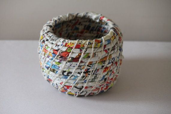 Upcycled Paper Baskets Junk Mail / Coiled / by FindYourHappyDesign, $89.95