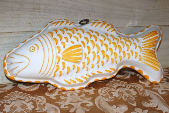 Vintage yellow and white ceramic fish mold housewares for Yellow koi fish for sale