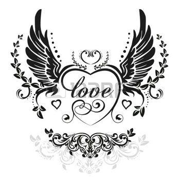 tatouage gothique: Ailes noires avec c?ur décoratif et feuilles, illustration isolé sur blanc