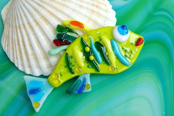 Glas Fisch Wohnkultur Fused Glass von MagicOfArtGlass auf Etsy