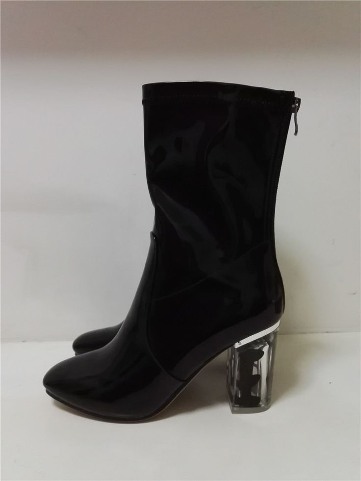 Patent Leather Transparent Perspex Square Heel Ankle Boots