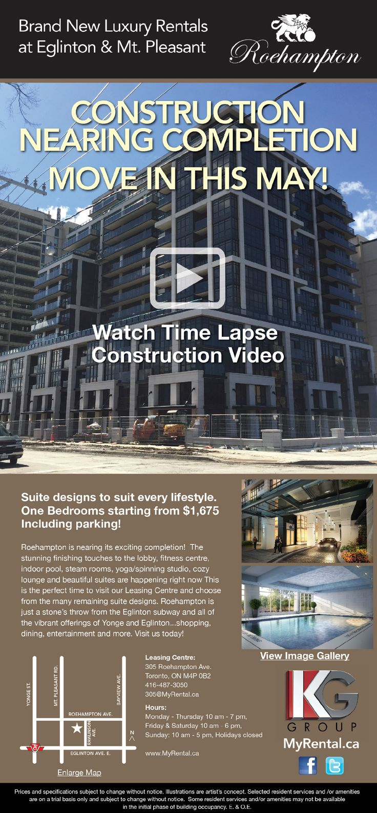 Our latest eblast just went live! #Construction is nearing completion and we are putting the #FinishingTouches on our #BeautifulAmenities and #suites! Visit us today for a tour, sign your #lease, and move in #May2015! Watch our construction #TimeLapseVideo here: https://www.youtube.com/watch?v=MbQHZYfiNzA&feature=share #luxuryrentals #Toronto #renting #rent #Roehampton #YongeAndEglinton