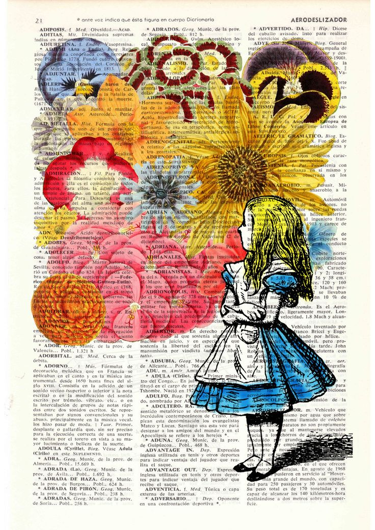 Alice in wonderland - Alice in Prrintland with Flowers - Alice in Wonderland Collage Print on Vintage Dictionary Book art