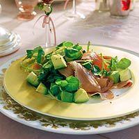 Salade van gerookte eendenborst en avocado