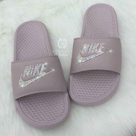 17b59c1f0c68 Nike Slides - Swarovski Nike - Crystal Sandals - Bedazzled Nike - Nike  Benassi JDI Slides - All Siz