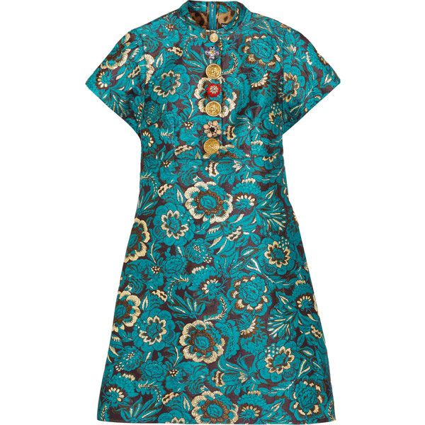 Dolce & Gabbana Embellished metallic jacquard mini dress ($2,665) ❤ liked on Polyvore featuring dresses, blue flower dress, sparkly dresses, blue cocktail dress, flower dress and short sparkly dresses