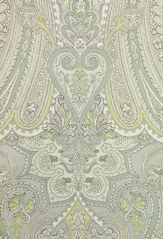 Mulberry Paisley Wallpaper Large, bold Paisley design wallpaper in Aqua, Sage Green and Cream.