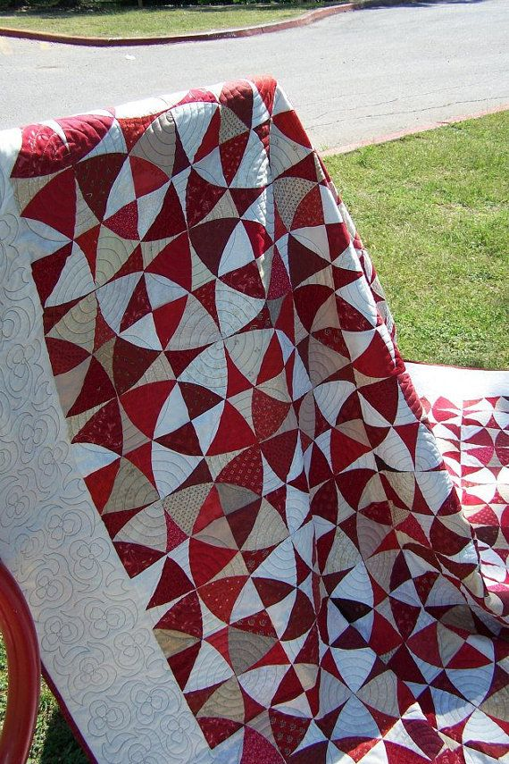 Spiral quilting in each square block - another way to quilt Winding Ways. Custom Quilt - Queen Size - 96x96