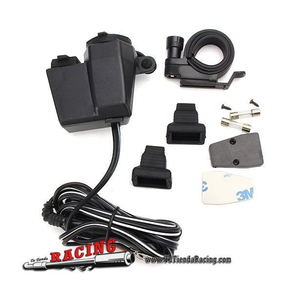 12,44€ - ENVÍO SIEMPRE GRATUITO - Cargador Splitter + USB 2.1A Cargador de Dispositivos Electrónicos para Moto Coche... - TUTIENDARACING