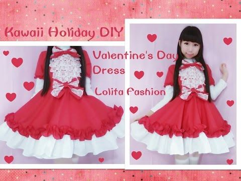 Holiday Kawaii DIY - Sew Valentine's Day Dress + Short Sleeves - Lolita Fashion - YouTube