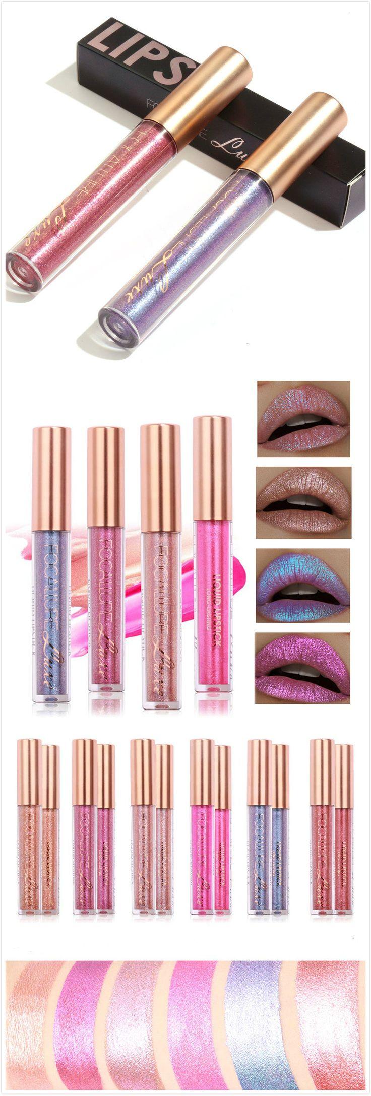 【$ 6.39】Party essential~FOCALLURE Glitter Color Temperature Change Lip Gloss Matte Diamond Sand Sexy Liquid Lipstick 6 Color