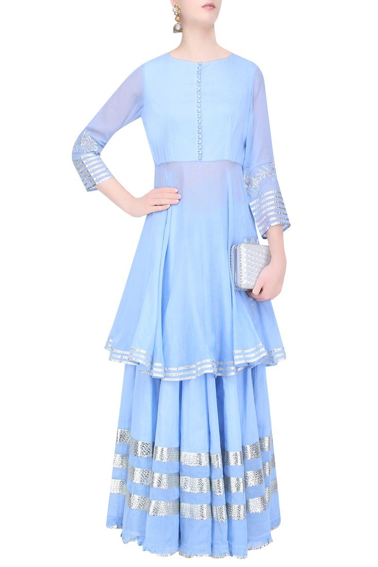 Light blue gota patti work kurta and skirt set available only at Pernia's Pop Up…