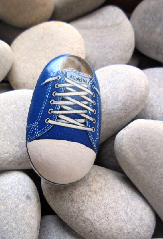 Azul toda la estrella pintada piedra  Está por RockArtAttack
