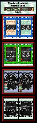 4 Cursive Alphabet Charts... Time to Tear Down the Old One!
