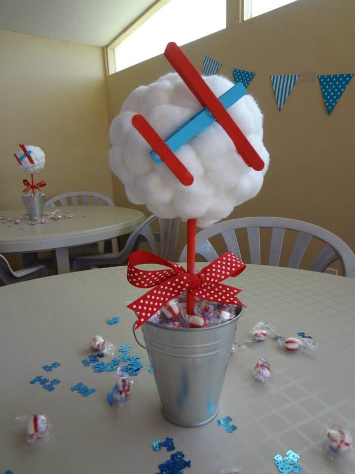 Cotton balls dollar store buckets sticks clothing line for Airplane party decoration