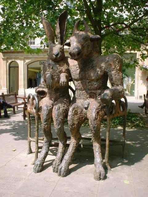 Hare & Minotaur sculpture, Cheltenham, UK. My sissy's special sculpture xx