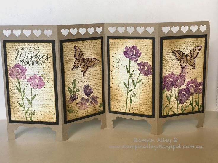 Stampin Alley - A Matching Vintage Screen Divider Card using Stampin Up Painted Petals, Dictionary, and Papillion Potpourri stamps.