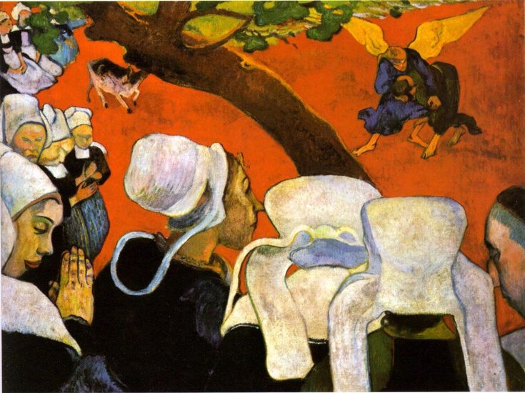 Paul Gauguin | Vision after the Sermon: Jacob's Struggle with the Angel (1888)