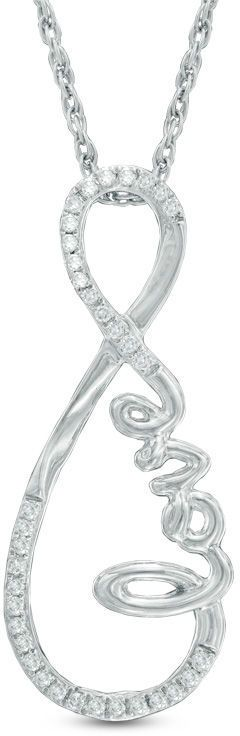 "Zales 1/10 CT. T.W. Diamond Cursive ""love"" Infinity Pendant in Sterling Silver"