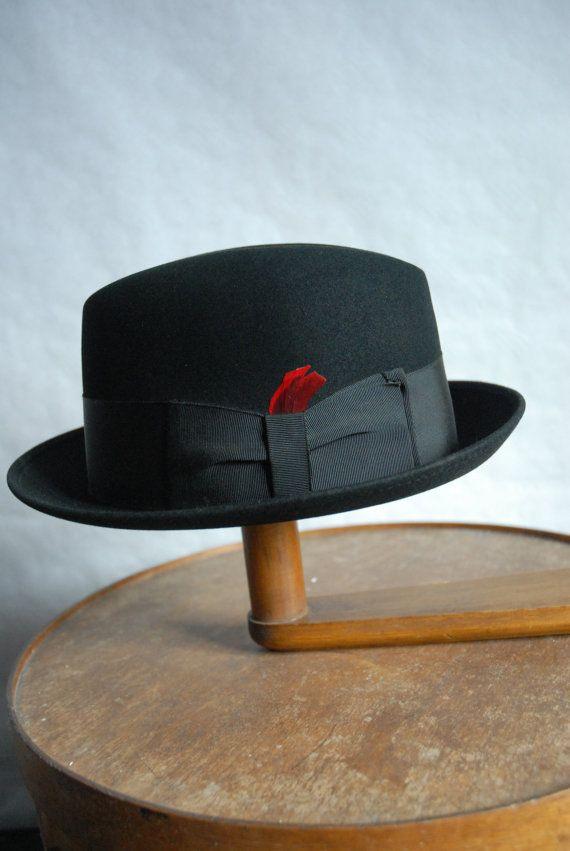 85086f469f9e1 Vintage 60 s Black Stingy Brim Fedora Trilby Hat by Richman Steins UK 6 5 8