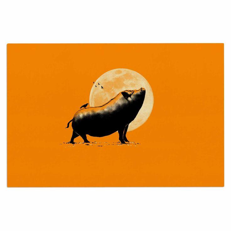 "BarmalisiRTB ""Barking Pig"" Black Orange Decorative Door Mat"