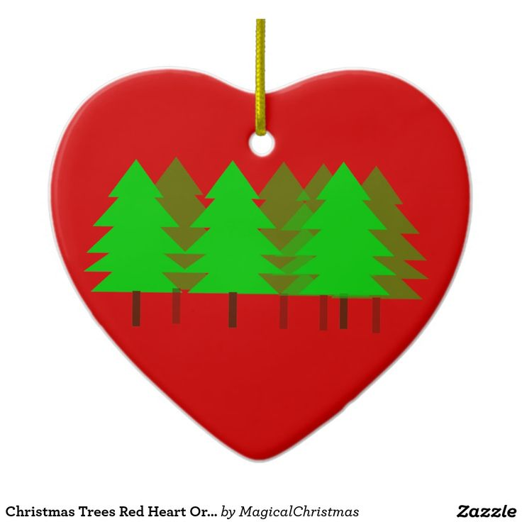 Christmas Trees Red Heart Ornament